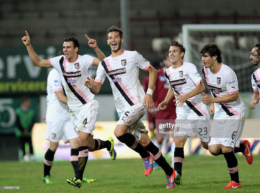 Milan Mlanovic of Palermo celebrates the second goal during the Serie B match between Reggina Calcio and US Citta di Palermo at Stadio Oreste Granillo on November 16, 2013 in Reggio Calabria, Italy.