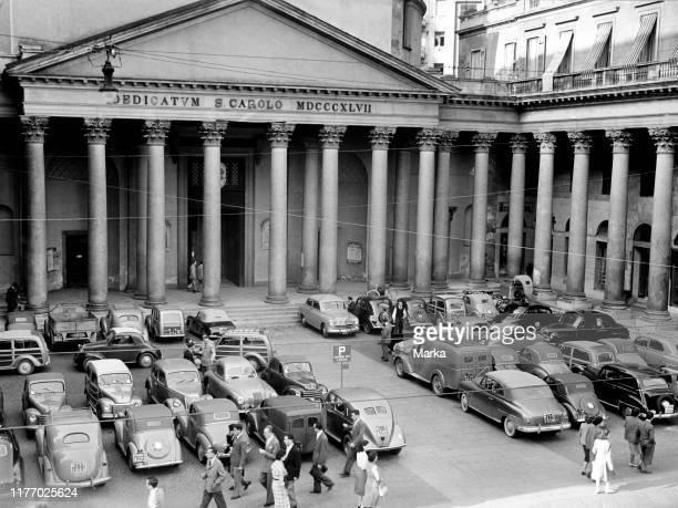 Milan. Parking in san carlo square. 1955.