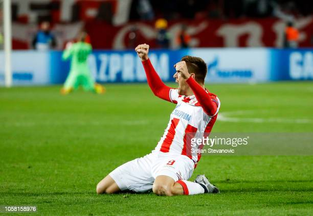 Milan Pavkov of Crvena Zvezda celebrates after scoring a goal during the Group C match of the UEFA Champions League between Red Star Belgrade and...