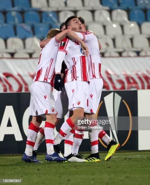 Milan Pavkov of Crvena Zvezda celebrates after scoring their sides second goal during the UEFA Europa League Round of 32 match between Crvena Zvezda...