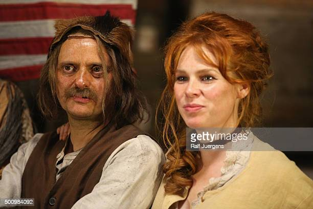 Milan Peschel and Henny Reents pose during a photo call for the television movie 'Winnetou' at MMC Studios on December 11, 2015 in Cologne, Germany.
