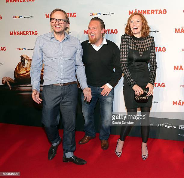 Milan Peschel Axel Stein Lavinia Wilson during the premiere for the film 'Maennertag' at Mathaeser Filmpalast on September 5 2016 in Munich Germany