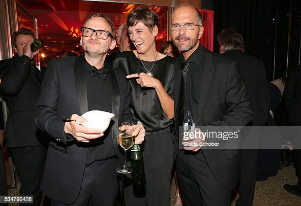 Milan Peschel Christoph Maria Herbst and his wife Gisi Herbst during the Lola German Film Award 2016 after show party at Palais am Funkturm on May 27...