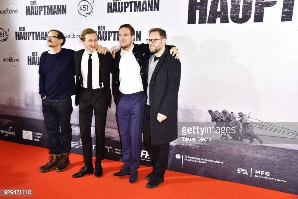 Milan Peschel Max Hubacher Frederick Lau and Samuel Finzi attend the premiere of 'Der Hauptmann' at Kino International on March 8 2018 in Berlin...