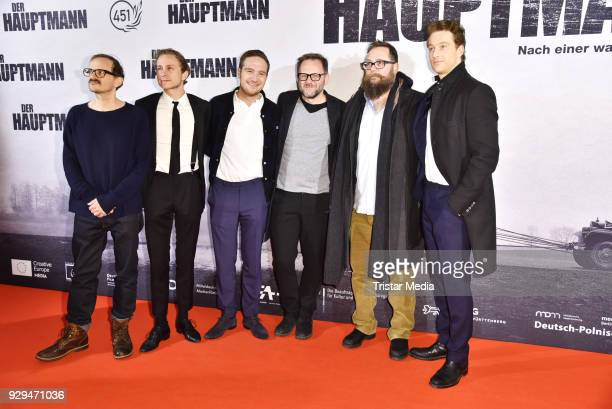Milan Peschel Robert Schwentke Max Hubacher Frederick Lau Samuel Finzi and Alexander Fehling attend the premiere of 'Der Hauptmann' at Kino...