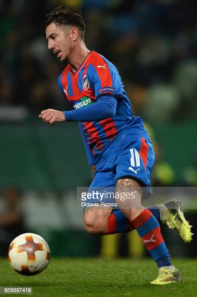 Milan Petrzela of Viktoria Plzen in action during the UEFA Europa League Round of 16 first leg match between Sporting Lisbon and Viktoria Plzen at...
