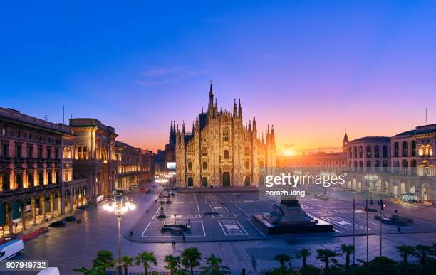 milan piazza del duomo at sunrise, italy - milan stock pictures, royalty-free photos & images