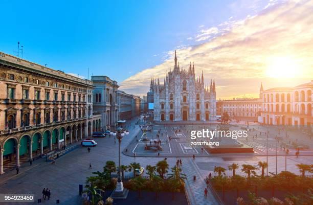 Milan Piazza Del Duomo at Sunrise, Italy