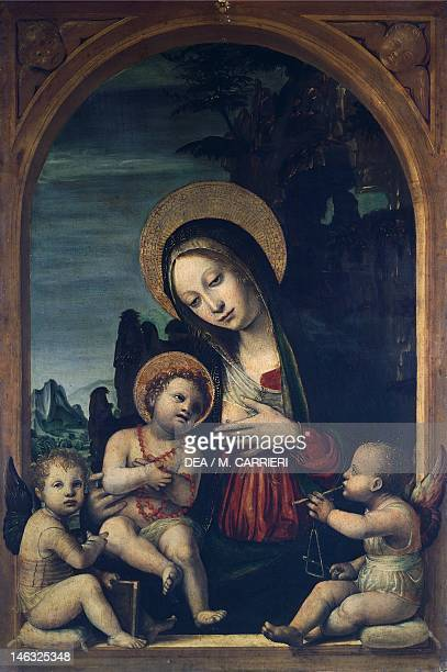 Milan Pinacoteca Di Brera Madonna and Child with Two Angels by Bernardo Zenale previously attributed to Vincent Civerchio