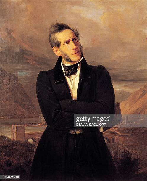 Milan Pinacoteca Di Brera Portrait of Alessandro Manzoni with views of Lecco painting by Giuseppe Molteni landscape painted by Massimo d'Azeglio oil...