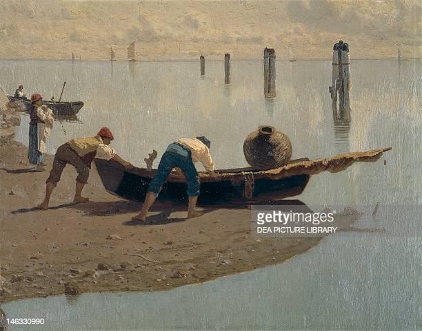 Milan, Pinacoteca Di Brera The lagoon at Mazzorbo on a summer's day, by Guglielmo Ciardi . Detail.