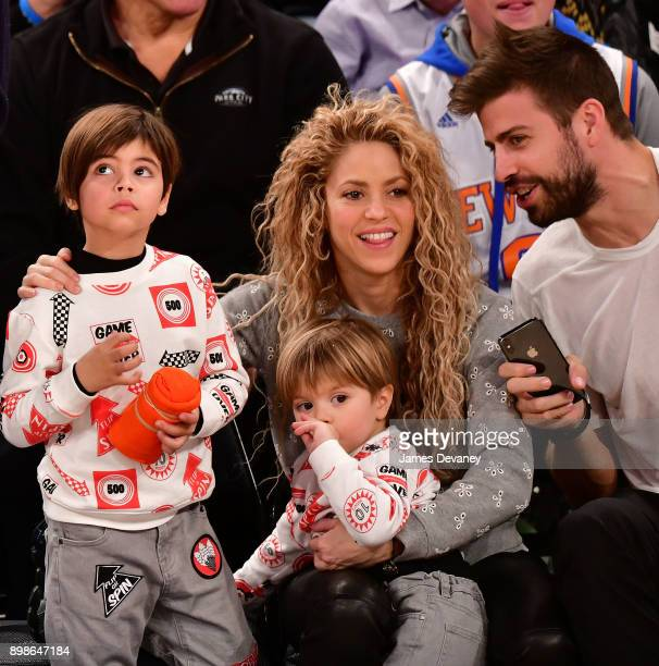 Milan Pique Mebarak Shakira Sasha Pique Mebarak and Gerard Pique attend the New York Knicks Vs Philadelphia 76ers game at Madison Square Garden on...