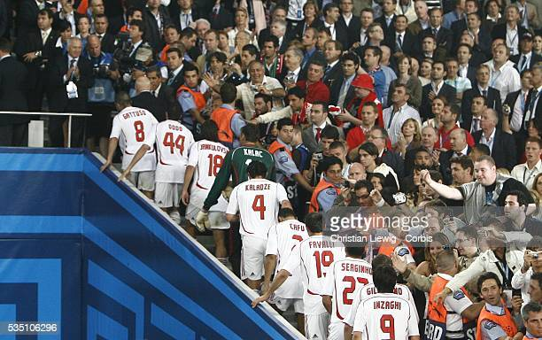 Milan players about to receive the trophy after winning the 20062007 UEFA Champions League final between AC Milan and Liverpool FC with their...
