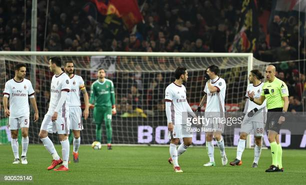 Milan players await the virdict of the VAR during the serie A match between Genoa CFC and AC Milan at Stadio Luigi Ferraris on March 11 2018 in Genoa...