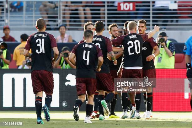 Milan players celebrate a goal scored by Andre Silva of AC Milan during the International Champions Cup match against FC Barcelona at Levi's Stadium...