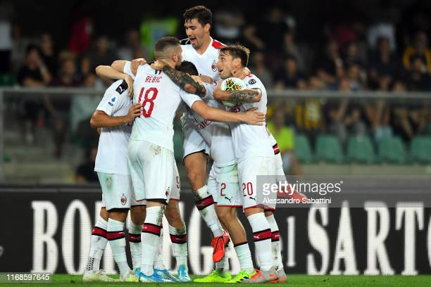 Milan Players celebrate during the Serie A match between Hellas Verona and AC Milan at Stadio Marcantonio Bentegodi on September 15 2019 in Verona...
