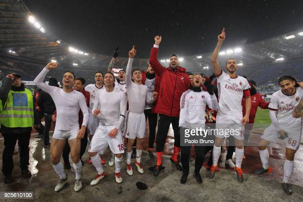 Milan players celebrate the victory after the TIM Cup match between SS Lazio and AC Milan at Olimpico Stadium on February 28 2018 in Rome Italy