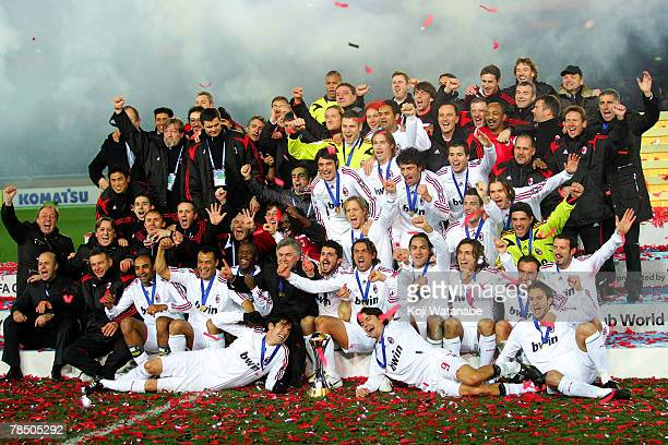 Milan players celebrate the win the FIFA Club World Cup final between Boca Juniors and AC Milan at the International Stadium Yokohama on December 16...