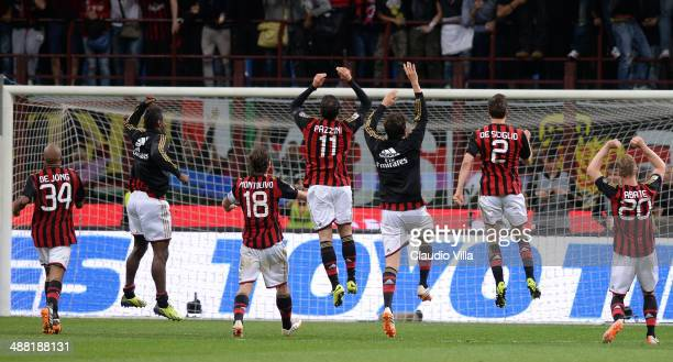 Milan players celebrate victory at the end of the Serie A match between AC Milan and FC Internazionale Milano at Stadio Giuseppe Meazza on May 4 2014...