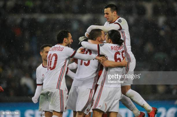 Milan players celebrates a winner game a penalty after the TIM Cup match between SS Lazio and AC Milan at Olimpico Stadium on February 28 2018 in...
