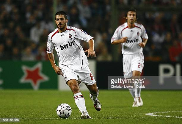 AC Milan players Ivan Gennaro Gattuso and Andrea Pirlo during the 20062007 UEFA Champions League group phase match between LOSC and AC Milan in Lens