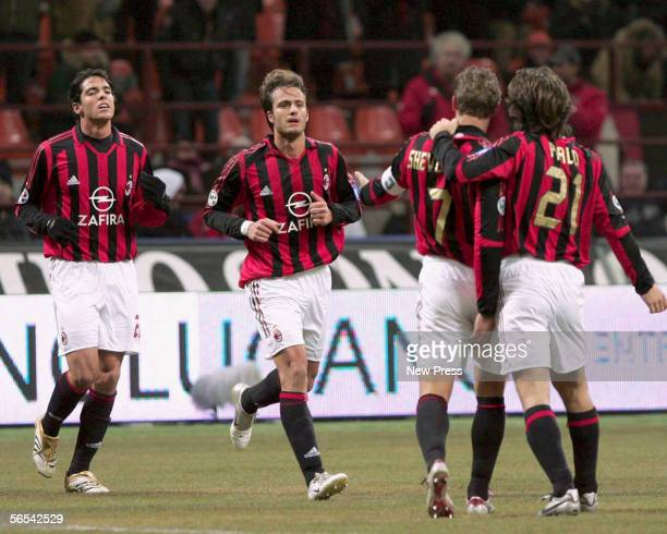 AC Milan players Kaka Alberto Gilardino Andrei Shevchenko and Andrea Pirlo celebrate their goal during the Serie A match between AC Milan and Parma...