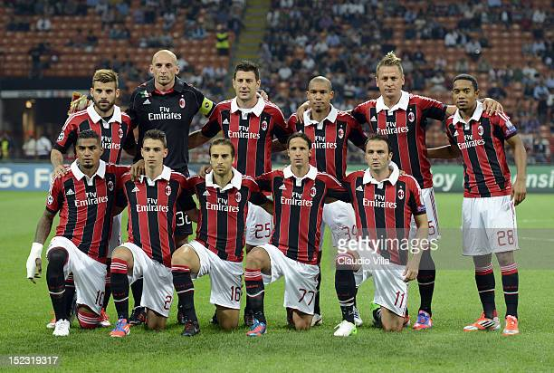 Milan players line up for a team photo before the start of the UEFA Champions League group C match between AC Milan and RSC Anderlecht at Stadio...