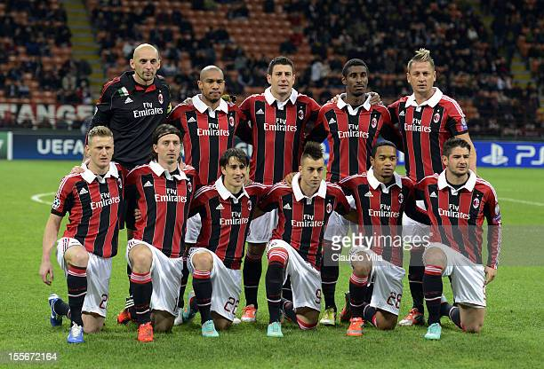 Milan players line up for a team photo before the start of the UEFA Champions League group C match between AC Milan and Malaga CF at Stadio Giuseppe...