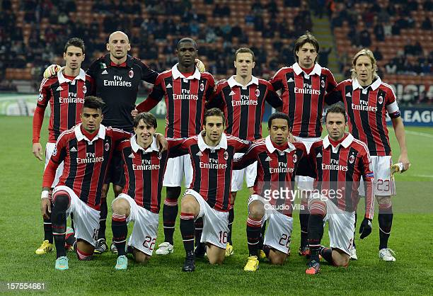 Milan players line up for a team photo before the start of the UEFA Champions League group C match between AC Milan and Zenit St Petersburg at San...