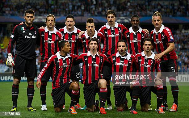 Milan players pose for a team picture during the UEFA Champions League group C match between Malaga CF and AC Milan at the Estadio La Rosaleda on...