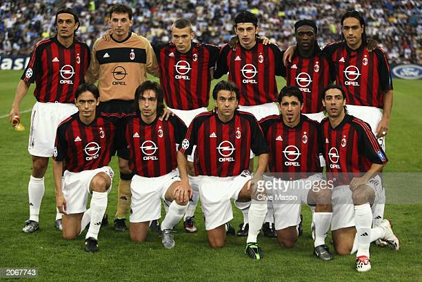Milan players team lineup before the UEFA Champions League semi final second leg match between Inter Milan and AC Milan on May 13 2003 at the San...