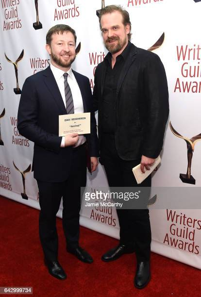 Milan Popelka and David Harbour pose with award backstage during 69th Writers Guild Awards New York Ceremony at Edison Ballroom on February 19 2017...