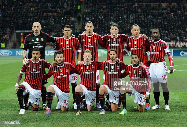 Milan pose for a photo during the UEFA Champions League round of 16 first leg match between AC Milan and Arsenal FC at Stadio Giuseppe Meazza on...