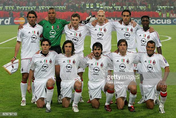 Milan pose for their group picture before the European Champions League final between Liverpool and AC Milan on May 25, 2005 at the Ataturk Olympic...