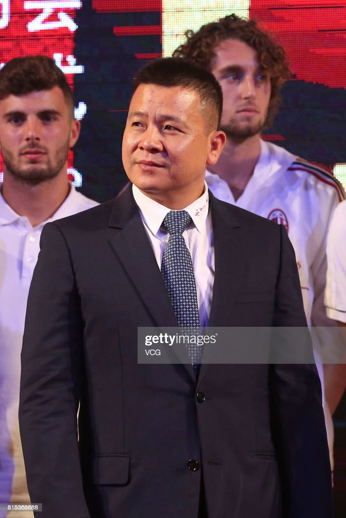 AC Milan president Li Yonghong attends the 2017 AC Milan China Tour Press Conference and MoU Signing Ceremony with CNGEF on July 16, 2017 in Guangzhou, Guangdong Province of China.