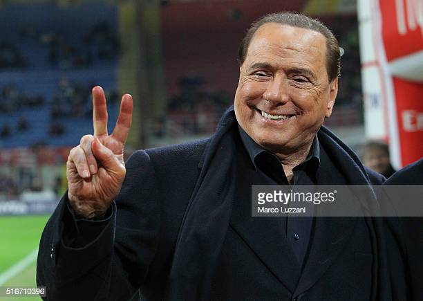Milan president Silvio Berlusconi gestures before the Serie A match between AC Milan and SS Lazio at Stadio Giuseppe Meazza on March 20 2016 in Milan...