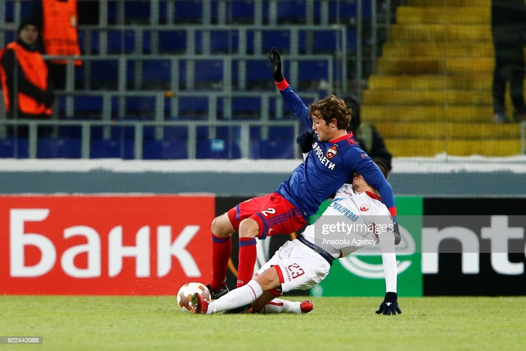 Milan Rodic (R) of Crvena Zvezda in action against Mario Fernandes (L) of CSKA Moscow during the UEFA Europa League round of 32, second leg soccer match between CSKA Moscow and Crvena Zvezda at the Stadium CSKA Moscow in Moscow, Russia on February 21, 2018.