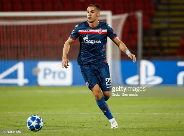 Milan Rodic of Crvena Zvezda in action during the UEFA Champions League Play Off First Leg match between FK Crvema Zvezda and FC Red Bull Salzburg at...