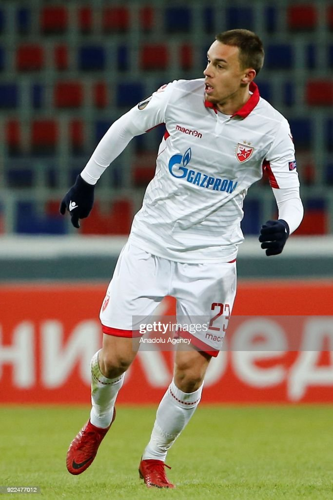 Milan Rodic of Crvena Zvezda is seen during the UEFA Europa League round of 32, second leg soccer match between CSKA Moscow and Crvena Zvezda at the Stadium CSKA Moscow in Moscow, Russia on February 21, 2018.