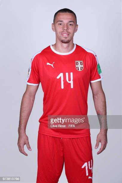 Milan Rodic of Serbia poses for a portrait during the official FIFA World Cup 2018 portrait session at the Team Hotel on June 12 2018 in Kaliningrad...