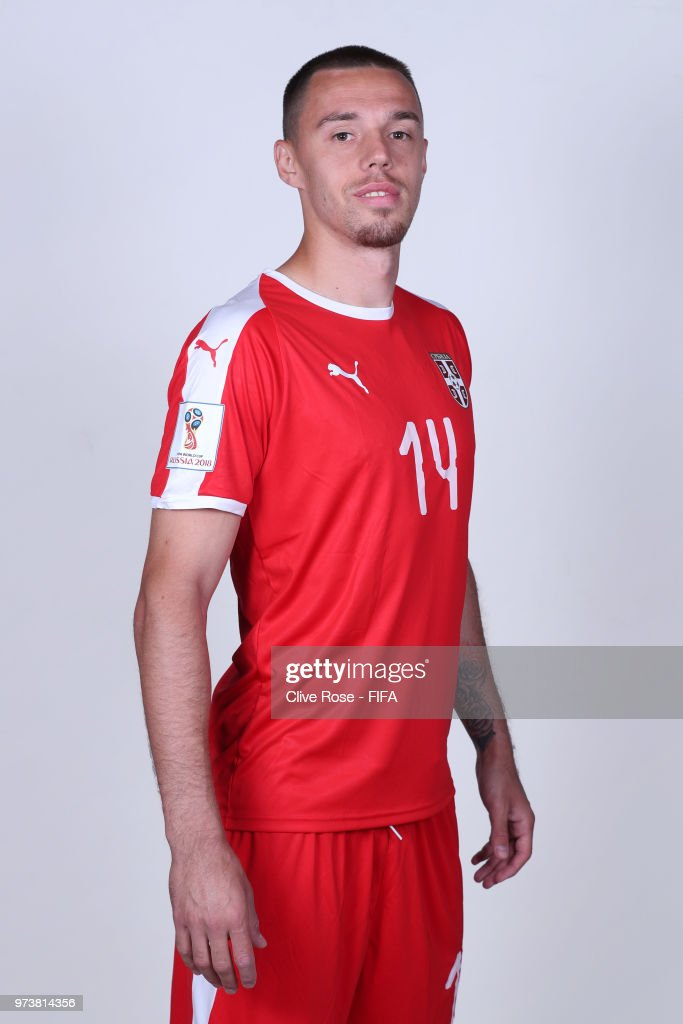 Milan Rodic of Serbia poses for a portrait during the official FIFA World Cup 2018 portrait session at the Team Hotel on June 12, 2018 in Kaliningrad, Russia.
