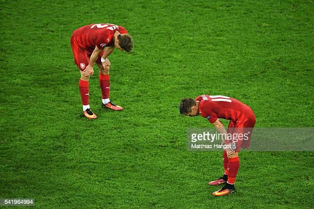Milan Skoda of Czech Republic and Josef Sural of Czech Republic dejected after the UEFA EURO 2016 Group D match between Czech Republic and Turkey at...