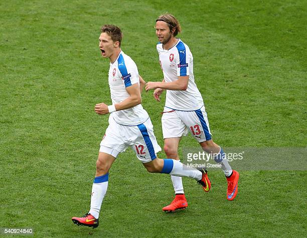 Milan Skoda of Czech Republic celebrates with Jaroslav Plasil of Czech Republic after he scored his sides first goal during the UEFA EURO 2016 Group...