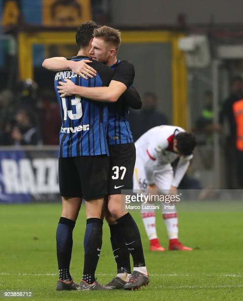 Milan Skriniar and Andrea Ranocchia of FC Internazonale celebrate the win at the end of the during the serie A match between FC Internazionale and...