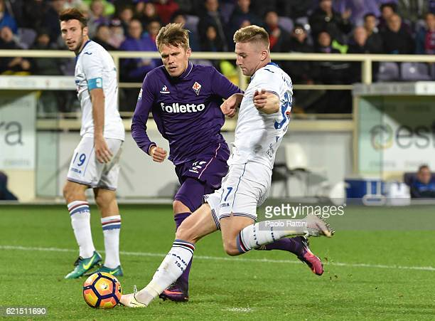 Milan Skriniar and Ilicic during the Serie A match between ACF Fiorentina and UC Sampdoria at Stadio Artemio Franchi on November 6 2016 in Florence...