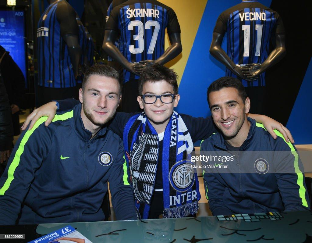 FC Internazionale Players Milan Skriniar And Matias Vecino Visit Club Store