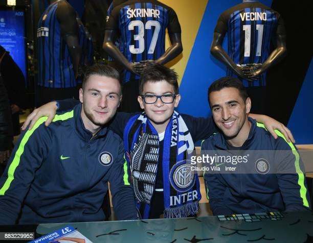 Milan Skriniar and Matias Vecino of FC Internazionale attend at Inter Store on November 30 2017 in Milan Italy