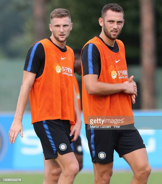Milan Skriniar and Stefan De Vrij of FC Internazionale look on during the FC Internazionale training session at the club's training ground Suning...