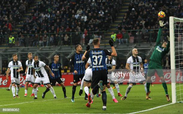 Milan Skriniar Danilo D'Ambrosio and Joao Miranda of FC Internazionale in action during the Serie A match between FC Internazionale and Udinese...