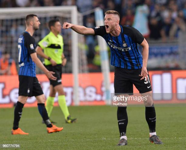 Milan Skriniar during the Italian Serie A football match between SS Lazio and FC Inter at the Olympic Stadium in Rome on may 20 2018